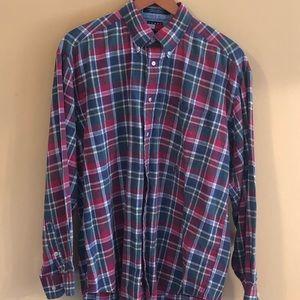 Tommy Hilfinger Lg Red/Green Plaid Shirt W/Pocket